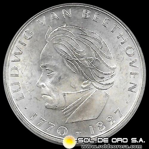 ALEMANIA - 5 MARK - 1970 - Subject: 200th Anniversary - Birth Ludwig van Beethoven - MONEDA DE PLATA