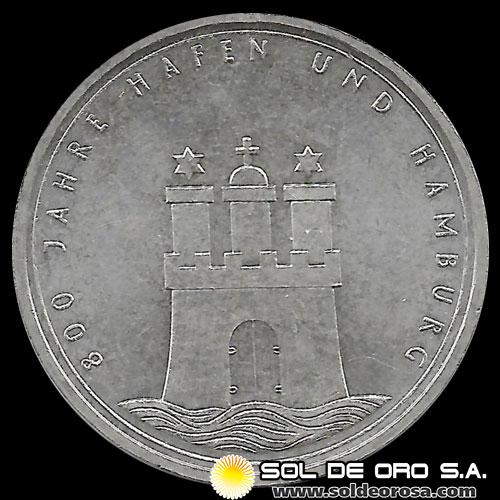 ALEMANIA - 10 MARK - 1989.j - Subject: 800th anniversary of Hamburg - MONEDA DE PLATA