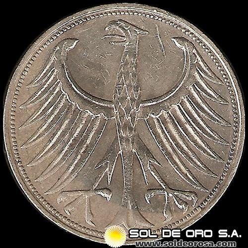 ALEMANIA - 5 MARK - AÑO 1965 j - MONEDA DE PLATA