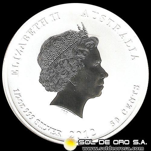 AUSTRALIA - 50 CENTS DOLLARS - AÑO 2012 (YEAR OF THE DRAGON) - MONEDA DE PLATA
