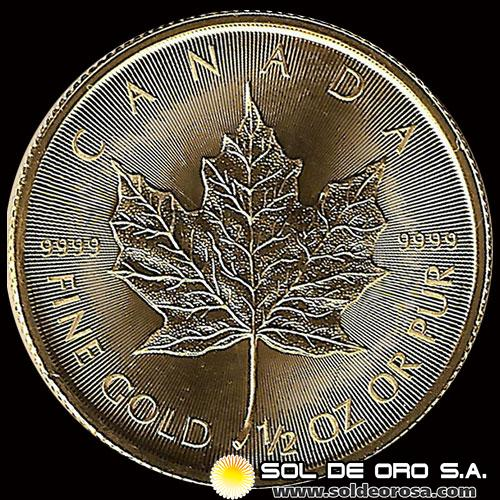 CANADA - HOJA DE MAPLE 1/2 oz., 20 DOLLARS – AÑO 2015 - MONEDA DE ORO 999.9