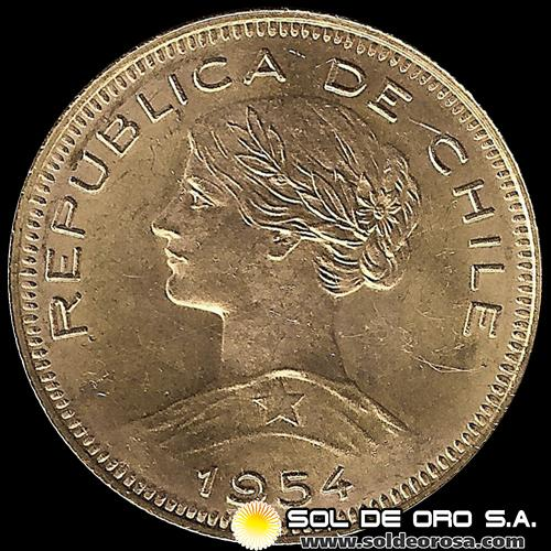 REPUBLICA DE CHILE - 100 PESOS - 1954 - MONEDA DE ORO