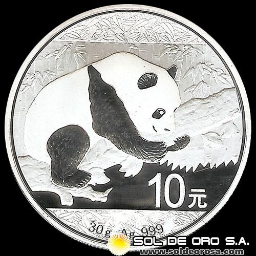 CHINA - 10 YUANES - PANDA - 2016 - MONEDA DE PLATA