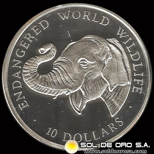 NCM - COOK ISLANDS - ENDANGERED WORLD WILDLIFE - 10 DOLLARS - 1990 - MONEDA DE PLATA