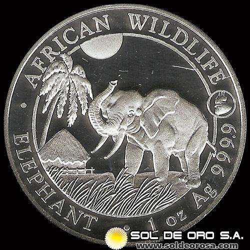 SOMALI REPUBLIC - 100 SHILLINGS - AÑO 2.017 - AFRICAN WILDLIFE - ELEPHANT - MONEDA DE PLATA