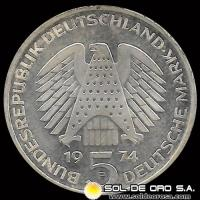 ALEMANIA - 5 MARK - A�O 1974 - SUBJECT: 25TH ANNIVERSARY - CONSTITUTIONAL LAW - MONEDA DE PLATA