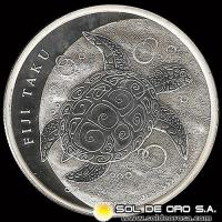 FIJI TAKU - TURTLE - TWO DOLLAR - ELIZABETH II - 2013 - MONEDA DE PLATA
