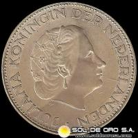 HOLANDA - NETHERLANDS - 2-1/2 GULDEN - AÑO 1963 - Ruler: JULIANA - MONEDA DE PLATA