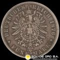 ALEMANIA - GERMAN STATES (PRUSSIA) - 5 MARK, 1876 - MONEDA DE PLATA