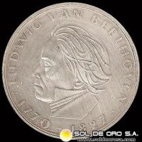 ALEMANIA - 5 MARK - AÑO 1970 - Subject: 200th Anniversary - Birth Ludwig van Beethoven - MONEDA DE PLATA