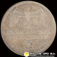 ALEMANIA - 5 MARK - A�O 1971 g - Subject: Foundation of German Empire, 1871 - MONEDA DE PLATA