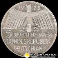 NA1 - ALEMANIA - 5 MARK - 1975 - Subject: European Monument Protection Year - MONEDA DE PLATA