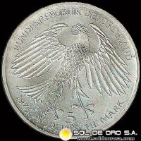 ALEMANIA - 5 MARK - AÑO 1976 d - Subject: 300th Anniversary - Death of von Grimmelshausen, writer - MONEDA DE PLATA