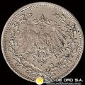 ALEMANIA - GERMAN EMPIRE - 1/2 MARK, 1913 D - MONEDA DE PLATA