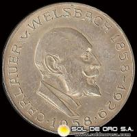 NA1 - AUSTRIA - 25 SCHILLING, 1958 - Subject: 100 th Anniversary Birth of Auer von Welsbach - MONEDA DE PLATA
