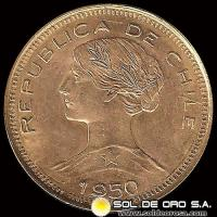 REPUBLICA DE CHILE - 100 PESOS - 1950 - MONEDA DE ORO