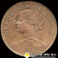 REPUBLICA DE CHILE - 100 PESOS - 1952 - MONEDA DE ORO