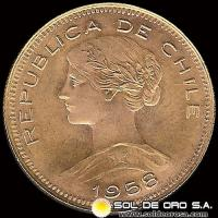 REPUBLICA DE CHILE - 100 PESOS - 1958 - MONEDA DE ORO