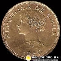 REPUBLICA DE CHILE - 100 PESOS - 1960 - MONEDA DE ORO
