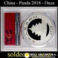 CHINA - PANDA 1 ONZA SILVER 999 - 2018 - MONEDA DE PLATA