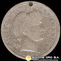 ESTADOS UNIDOS - UNITED STATES - BARBER DIME DOLLAR, 1906 - MONEDA DE PLATA