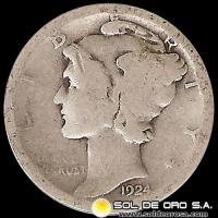 ESTADOS UNIDOS - UNITED STATES - MERCURY DIME DOLLAR, 1924 - MONEDA DE PLATA