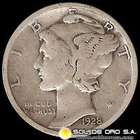 ESTADOS UNIDOS - UNITED STATES - MERCURY DIME DOLLAR, 1928 - MONEDA DE PLATA