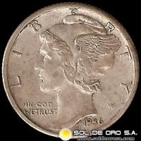 ESTADOS UNIDOS - UNITED STATES - MERCURY DIME DOLLAR, 1936 - MONEDA DE PLATA