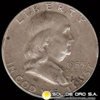 NA3 - ESTADOS UNIDOS - UNITED STATES - FRANKLIN HALF DOLLAR, 1953 - MONEDA DE PLATA