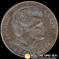 REPUBLIQUE FRANÇAISE - 100 FRANCS, 1984 - Subject: 50th Anniversary - Death of Marie Curie - MONEDA DE PLATA