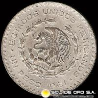 NA4 - REPUBLICA DE MEXICO - 1 PESO - 1961 - MONEDA DE PLATA