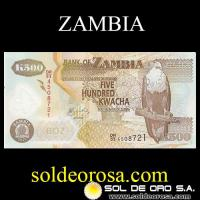 BANK OF ZAMBIA - (500) FIVE HUNDRED KWACHA, 2011