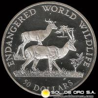 COOK ISLANDS - ENDANGERED WORLD WILDLIFE - 50 DOLLARS - 1990 - MONEDA DE PLATA