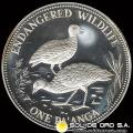KINGDOM OF TONGA - ONE TA´ANGA - AÑO 1991 - SERIE ANIMALES EN EXTINCIÓN - MONEDA DE PLATA