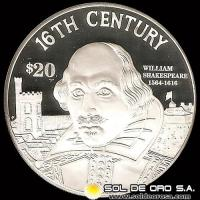 COOK ISLANDS - 20 DOLLARS,1997 - WILLIAM SHEKESPEARE 1564/1616 - MONEDA DE PLATA
