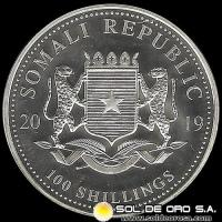 SOMALI REPUBLIC - 100 SHILLINGS - AÑO 2.019 - AFRICAN WILDLIFE - ELEPHANT - MONEDA DE PLATA