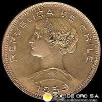 REPUBLICA DE CHILE - 100 PESOS - 1959 - MONEDA DE ORO